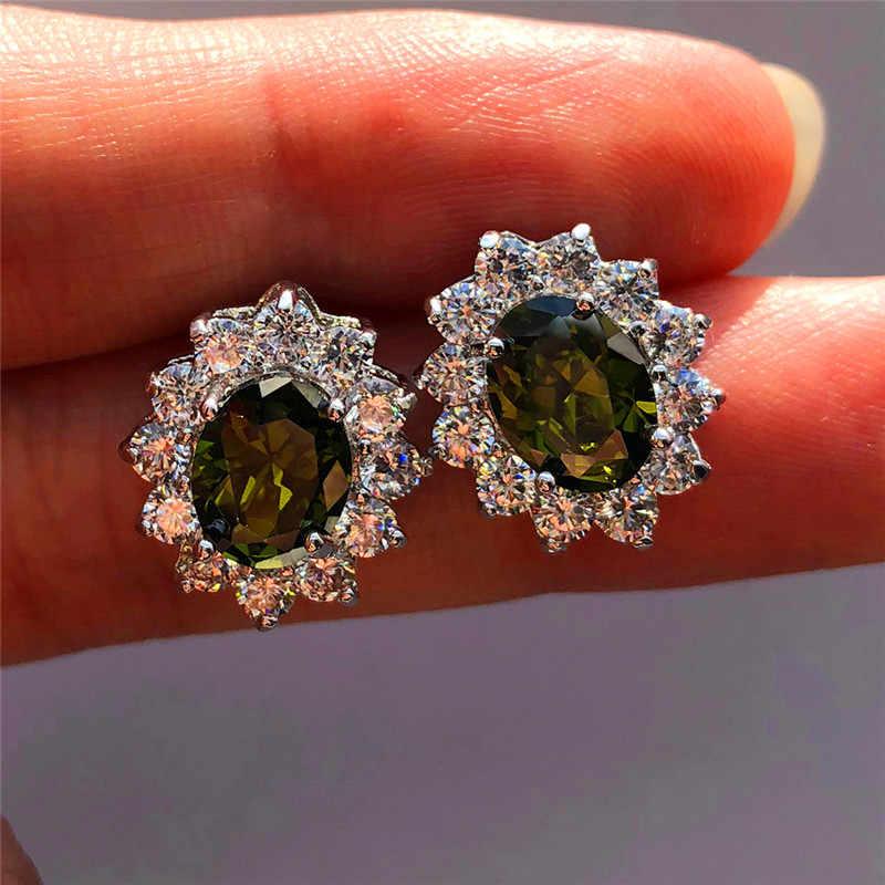 Boho Female Luxury Peridot Stud Earrings Vintage 925 Sterling Silver Wedding Jewelry White Blue Red Earrings For Women