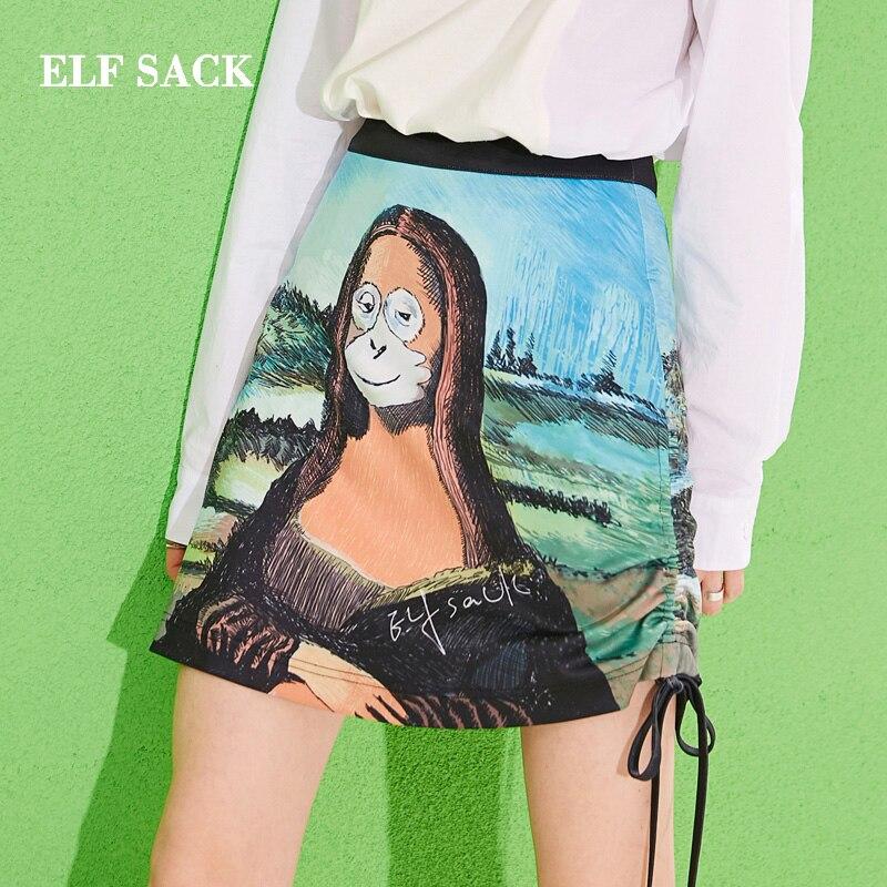 ELFSACK 2019 New Woman Skirt Character Animals Print Ladies Skirts Casual A-Line Above Knee Mini Femme Streetwear Bottoms