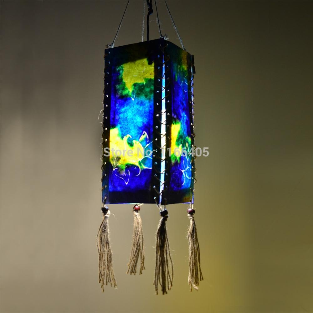 handmade outdoor lighting. 3 pcs blue color painting handmade paper lantern lampshade portable lighting outdoor garden night led lamp o