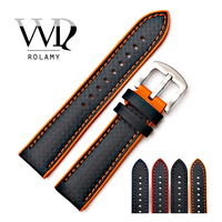 Rolamy Watch Band Strap 20 22mm Silicone Rubber Waterproof Watchbands For Dayjust Tudor Omega Replacement Watch Band Strap Belt