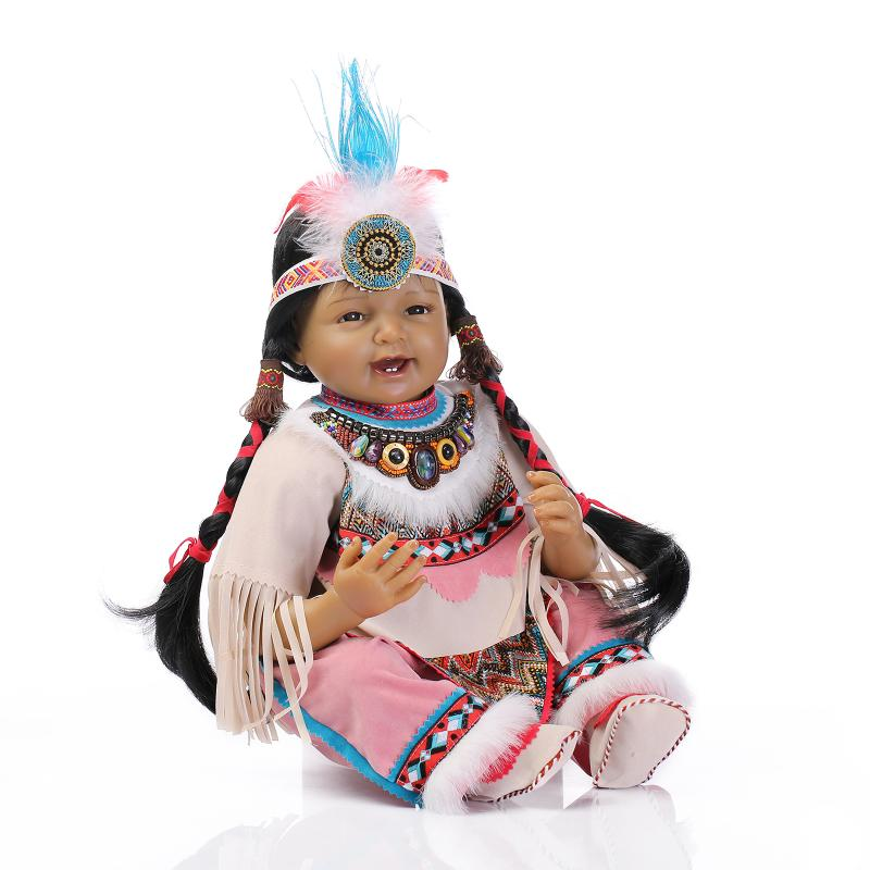 55 cm long Hair silicone Ethnic Indian girl doll Reborn Black Dolls NPK 22 inch Native American Indian reborn baby Silicone doll