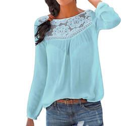 Шифоновая блузка Для женщин 2018 Мода Повседневное с длинным рукавом Для женщин рубашки кружева лоскутное блузки туники-топы Blusas Mujer плюс