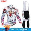 2019 冬サイクリングジャージ 9D パンツセット MTB 面白い自転車服ロパ Ciclismo サーマルフリースバイクジャケットメンズサイクリング着用
