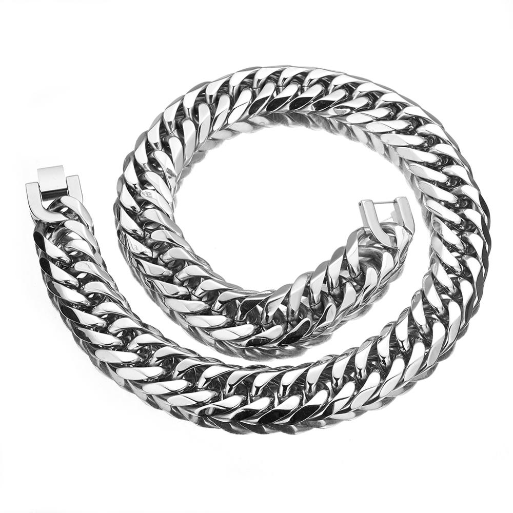 Granny Chic 16 19 21mm Mens Chain Heavy 316L Stainless Steel Silver Color Cut Double Curb Link Rombo Necklace Wholesale in Chain Necklaces from Jewelry Accessories