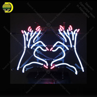 Neon Sign for Fingers with Heart neon Light Sign Decor Nails Store Display glass Tube Handcrafted Arcade Art Neon Lamp for Room