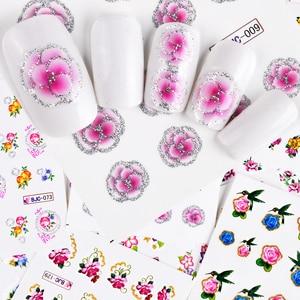 Image 2 - 55Pcs 3D Colorful Beauty Nail Art Stickers Nails Flower Decals Creative Adhesive Set DIY Nail Art Decoration Manicure TRBJC55