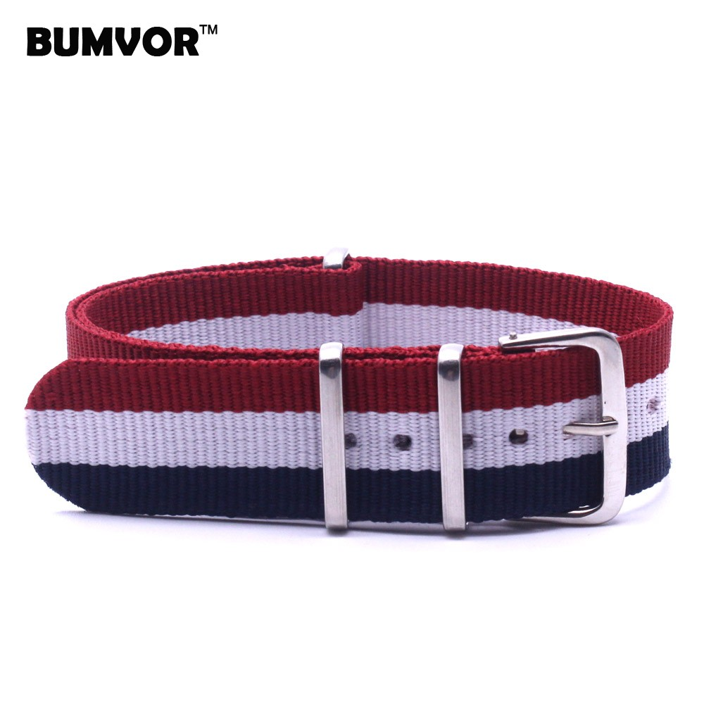 Wholesale 20mm Man Womens Popular France Color Red White Blue Nato Nylon Watch Strap Wristwatch Band Buckle Woven Watchbands