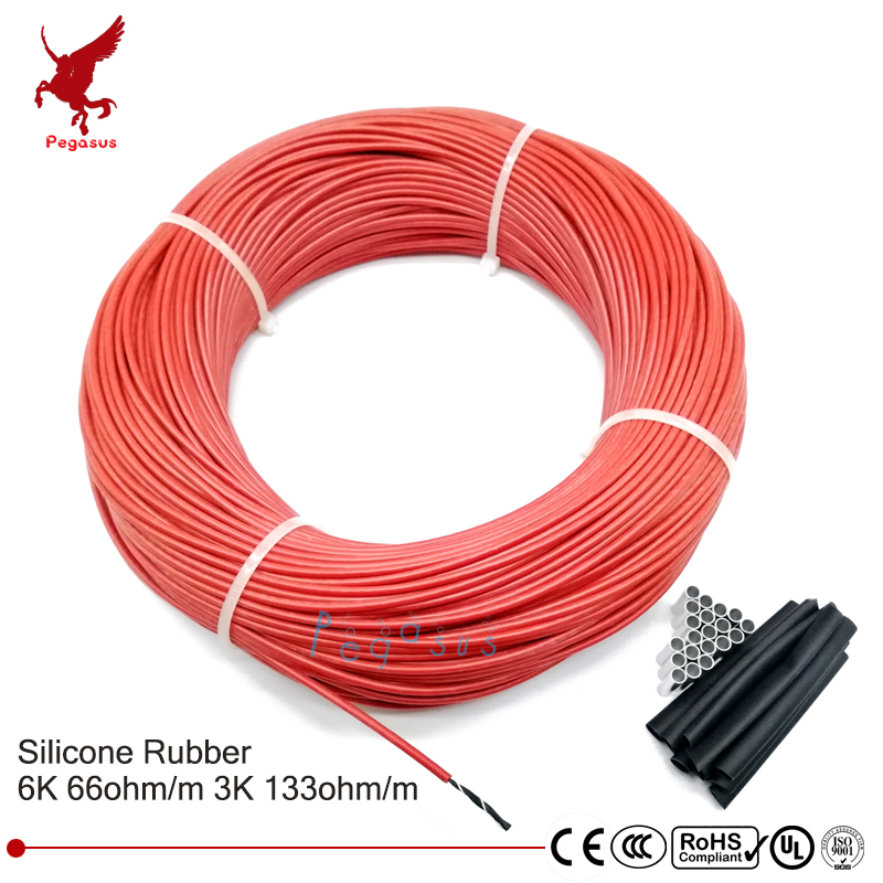 100meter 66ohm 133ohm Carbon fiber heating cable Silicon rubber heating cable 5-220V Heating wire DIY heating equipment cable ethernet cable