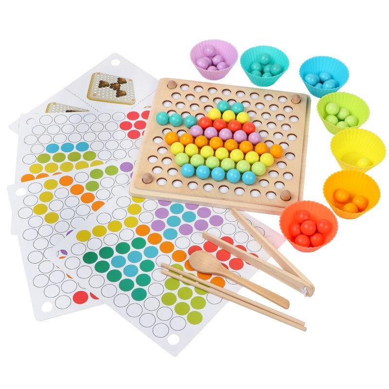 Juguetes para niños Montessori juguetes de madera manos entrenamiento cerebro Clip cuentas rompecabezas juego de matemáticas bebé juguetes educativos temprano para niños