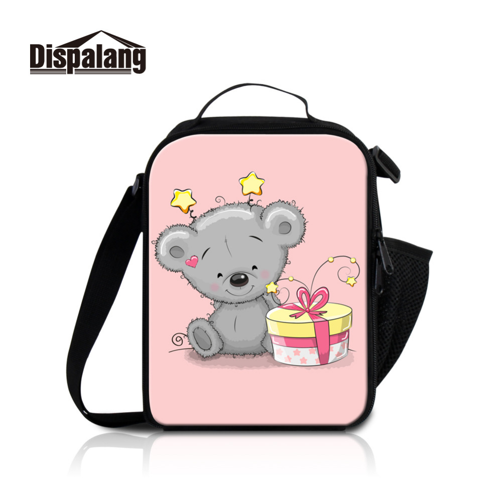 Dispalang Cartoon Bear Print Kids Lunch Bags Women Lunchbox Birthday Gift Insulated Food Container Baby Picnic Cooler Bag Tote