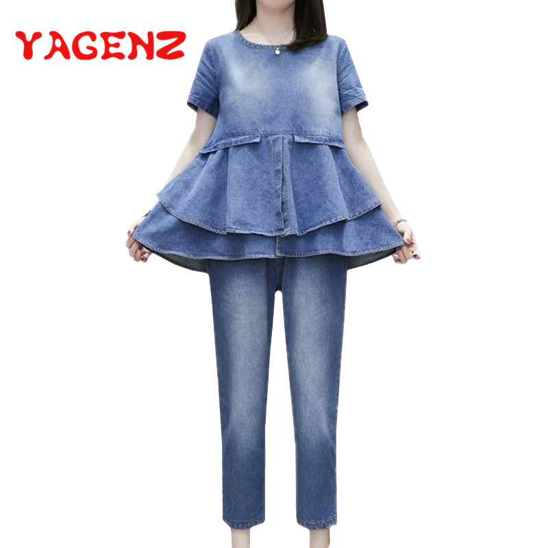 YAGENZ Summer Clothes For Women Denim Two Piece Set Short sleeved Ruffled Tops And Pants Plus size Casual Jeans 2 Piece Set 357