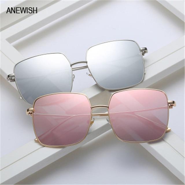 b039716eb Óculos femininos óculos de sol maré óculos de sol grande rodada rosto  quadrado quatro Liga cor