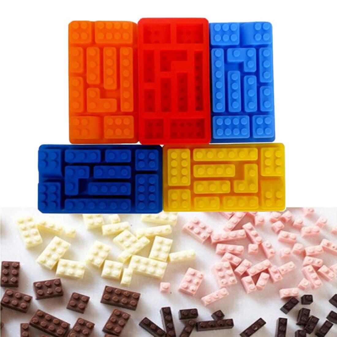 Wholesale 10 Holes Brick Blocks Shaped Rectangular DIY Chocolate Silicone Mold Hot Sale Ice Cube Tray Cake Tools Fondant Moulds