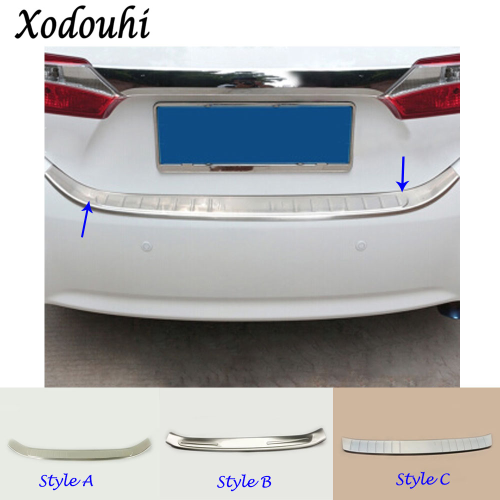 For Toyota Corolla Altis 2014 2015 2016 cover Stainless Steel outside Rear back Bumper trim plate Trunk frame threshold pedal car rear trunk security shield shade cargo cover for toyota yaris l 2014 2015 2016 2017 black beige