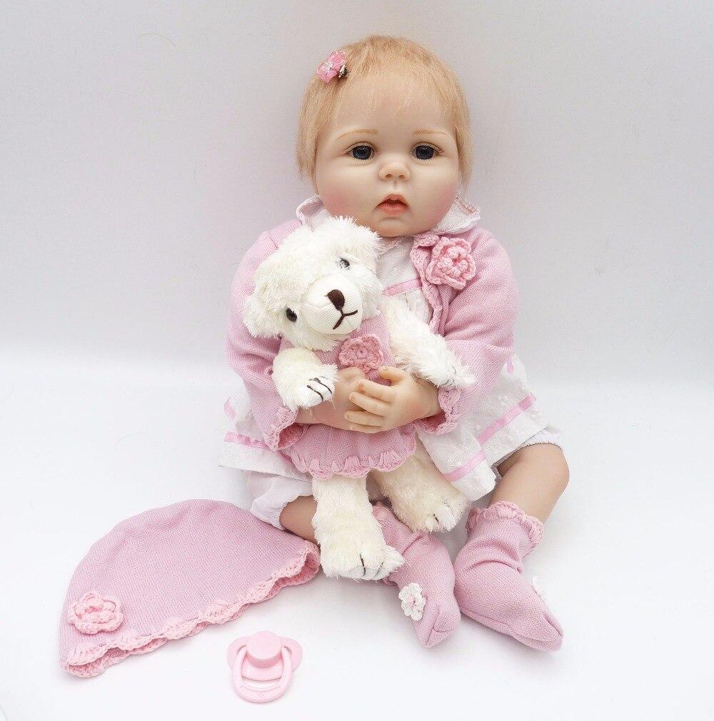 NPK Lifelike Baby Dolls 22 Polegada 55 cm Sorridente Suave Realista Vinil Bonecas Reborn Juguetes Presente de Natal de Aniversário do Miúdo brinquedos