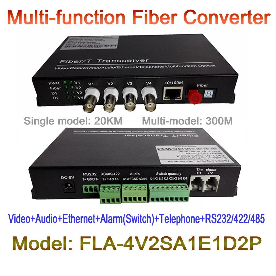 4ch Multifunction Fiber Optical Media Converter 4ch Video + 2ch Audio+ 1ch RJ45  + 2ch Telephone + 1ch RS485