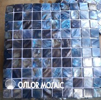 Dyed blue color 100% natural Chinese freshwater shell mother of pearl mosaic tile for interior house decoration 1pcs