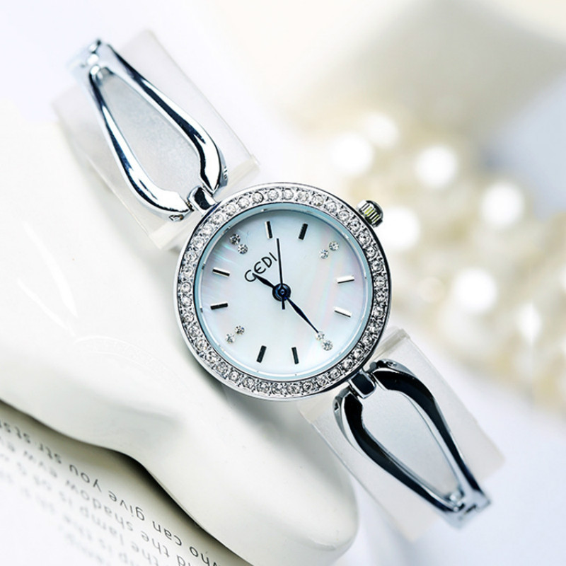 New Fashion Silver,Silver Red,Silver Blue Watches Women Luxury GEDI Wristwatches Women Dress Watches For Ladies Quartz Watch