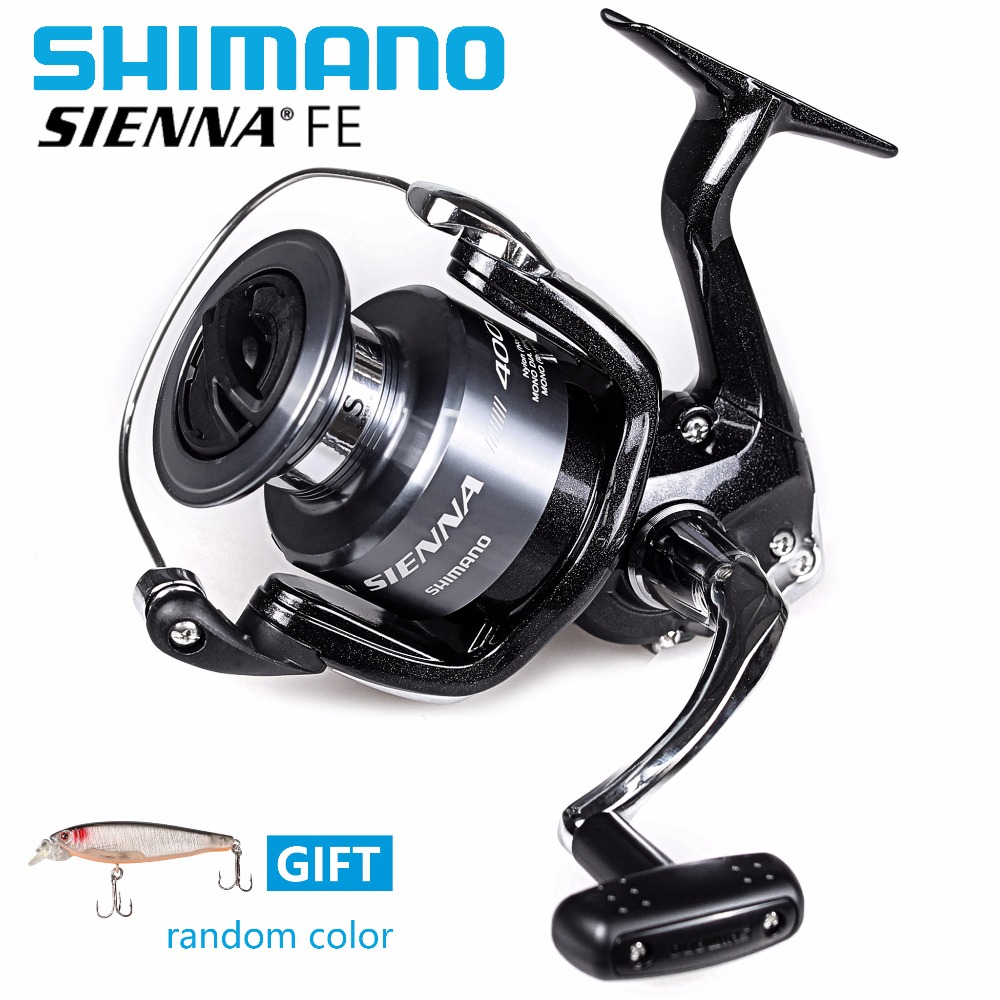 Original Shimano Sienna FE 4000 Spinning Reels With Free Lure Fishing Reels 5.2:1 Saltewater Carp Fishing Reel 2+1BB 100% original shimano alivio spinning fishing reel 1 1bb with original nylon fishing line ar c spool rigid body fishing reels