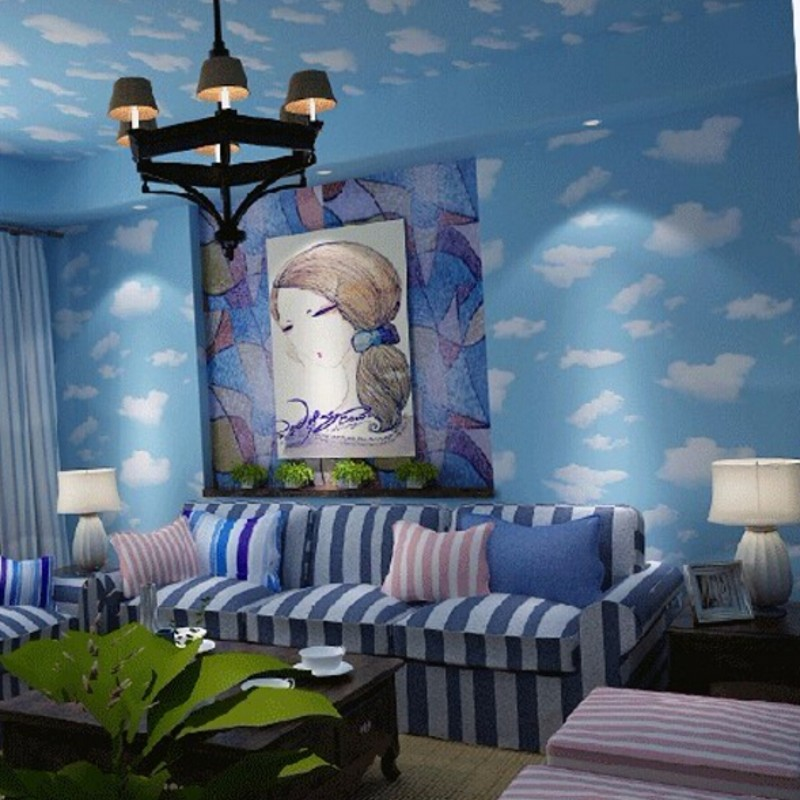 Beibehang blue sky wallpaper blue sky roof minimalist for Minimalist living bedroom