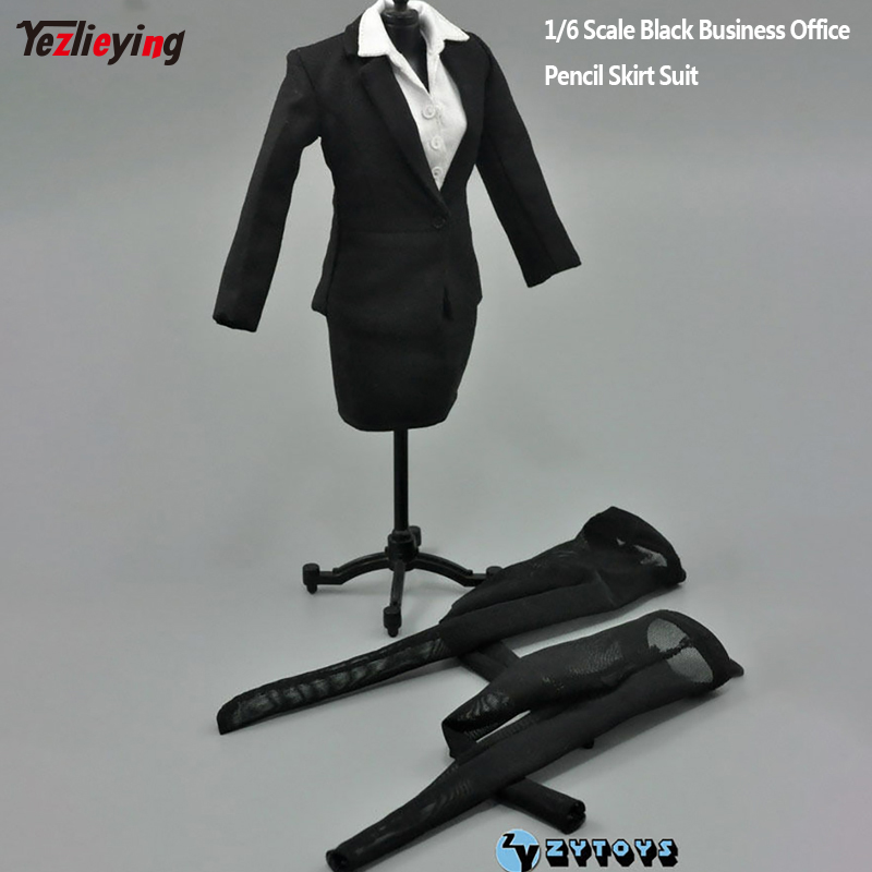 1:6 Scale ZY TOYS Womens Female Occupation Black Business Office Pencil Skirt Suit Fit 12 Inch Action Figure Doll Clothes Annex slit back pencil skirt with strap page 6