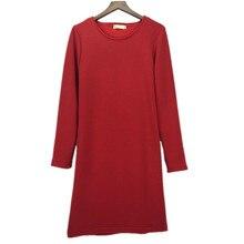 Winter women long sleeve warm dress plus size XS- 5XL 6XL  thickening autumn suit body dress