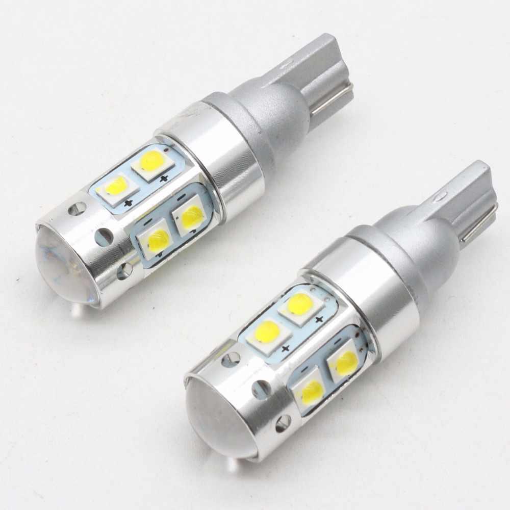 2x T10 194 W5W CREE Levou Chip de Branco 50 W Com Caso De Alumínio Lâmpadas Do Projetor Len Interior Do Carro DRL Reversa Fonte luz