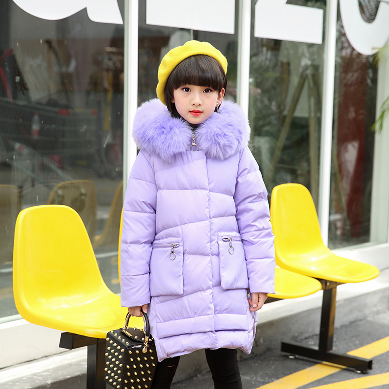2017 New Girl 6-14Y In The Long Section of Children Winter Coat Thick Warm Down Jackt Warm Children Coat for Big Girl -30 Degree yagenz 2017 new feather cotton coats winter korean version of the long section of the big hair collar loose thick cotton coat