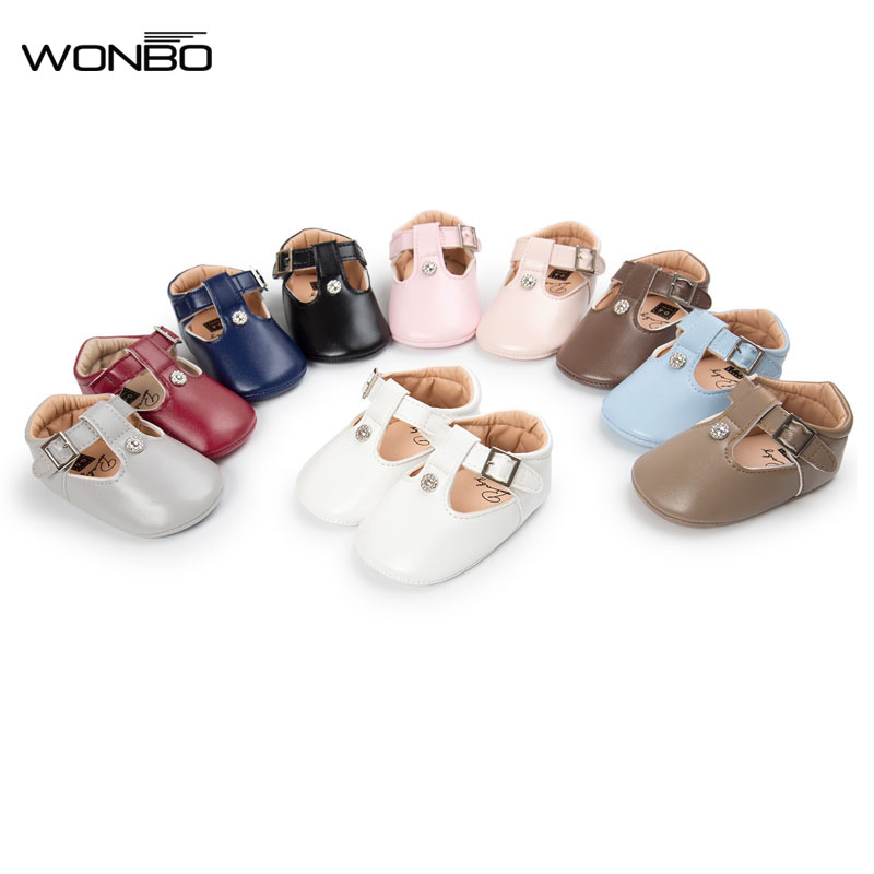 WONBO 2019 Trendy Europe Simple Metal Buckle Baby Princess Shoes Infant Toddler Shoes First Walkers