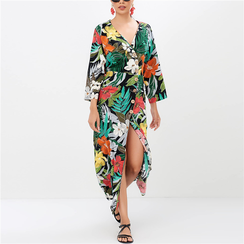 Pants Print Women Dress New Fashion Spring Floral V-neck Button 2019 Sleeve Chiffon Dress Casual 2019 Ladies Party Dresses