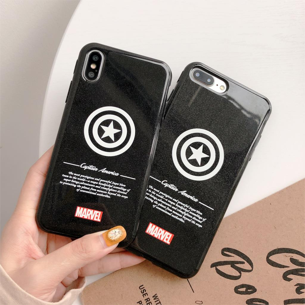 3D Relief Glitter Funda For Iphone X Case Marvel Captain America Phone Case For Iphone X XR XS Max 6 6S 7 8 Plus Cover Soft TPU