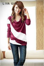 2017 autumn new big size women's clothing, Korean fashion leisure bat sleeve, women's wear long sleeve T-shirt, pile collar