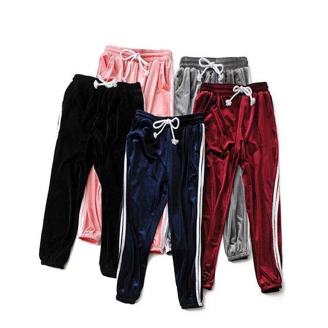 88fc4807a3 Moda mujer pantalones de terciopelo pista clásica dos Stripe Pantalones  deportivos de rayas laterales harem pantalones