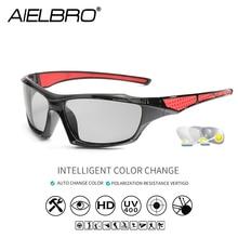 AIELBRO 2019 New Driving Photochromic Sunglasses Men Polarized Chameleon Discoloration All day Change Color Gafas de sol