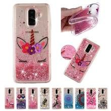 Glitter Love Phone Case For Samsung Galaxy A3 A5 2017 A6 A7 A8 A9 2018 Plus Dynamic Liquid Quicksand Cover Phone Cases Bling(China)