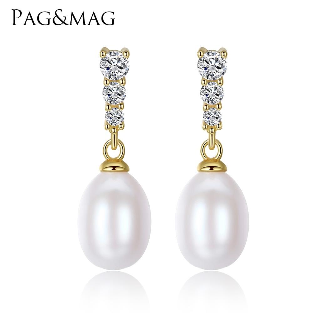 PAG & MAG Märke Classic Små Stud Örhängen AAAAA sötvatten 8-9mm Natur Pearl S925 Silver Stud Fashion Örhängen