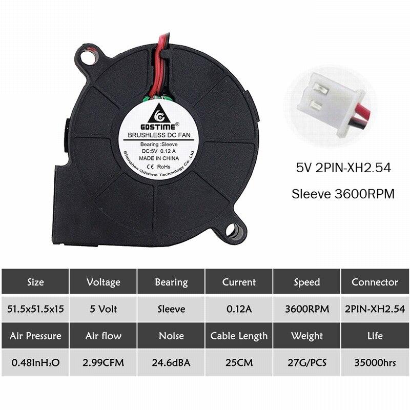 2 шт. Gdstime 5015 50 мм DC 24 в 12 В 5 В 2Pin шариковый/втулка подшипник бесщеточный охлаждения турбины вентилятор 50 мм x 15 мм Вентилятор Кулер - Цвет лезвия: 5V Sleeve 3600RPM