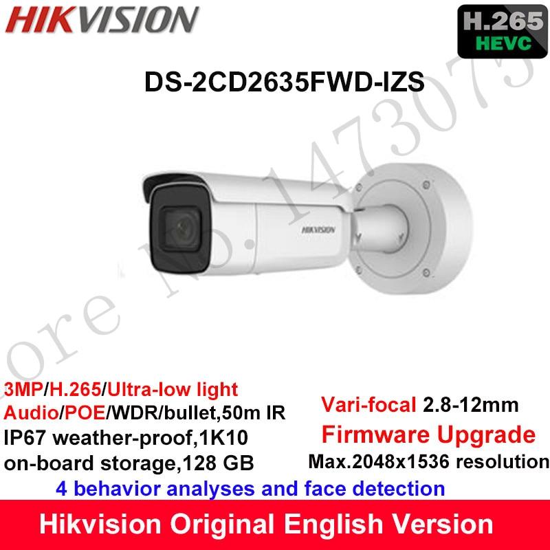Hikvision 3MP Ultra-low light Vari-focal CCTV IP Camera H.265 DS-2CD2635FWD-IZS Bullet Security Camera 2.8-12mm face detection видеокамера ip hikvision ds 2cd2642fwd izs цветная