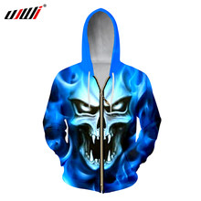 UJWI Men s Casual Hoodies Cool Print Blue Flame Skull 3D Sweatshirts Man  Hip Hop Streetwear Tracksuits Homme Zip Hooded Jackets 1f47159f7154