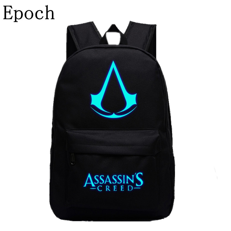 VEEVANV 2016 New Design Assassins Creed Backpacks Luminous 5 Colors Backpack Canvas Printing School Bags For Teenagers Backpack assassins creed cosplay backpack men school bags official assassins creed syndicate logo school backpacks bag rucksack