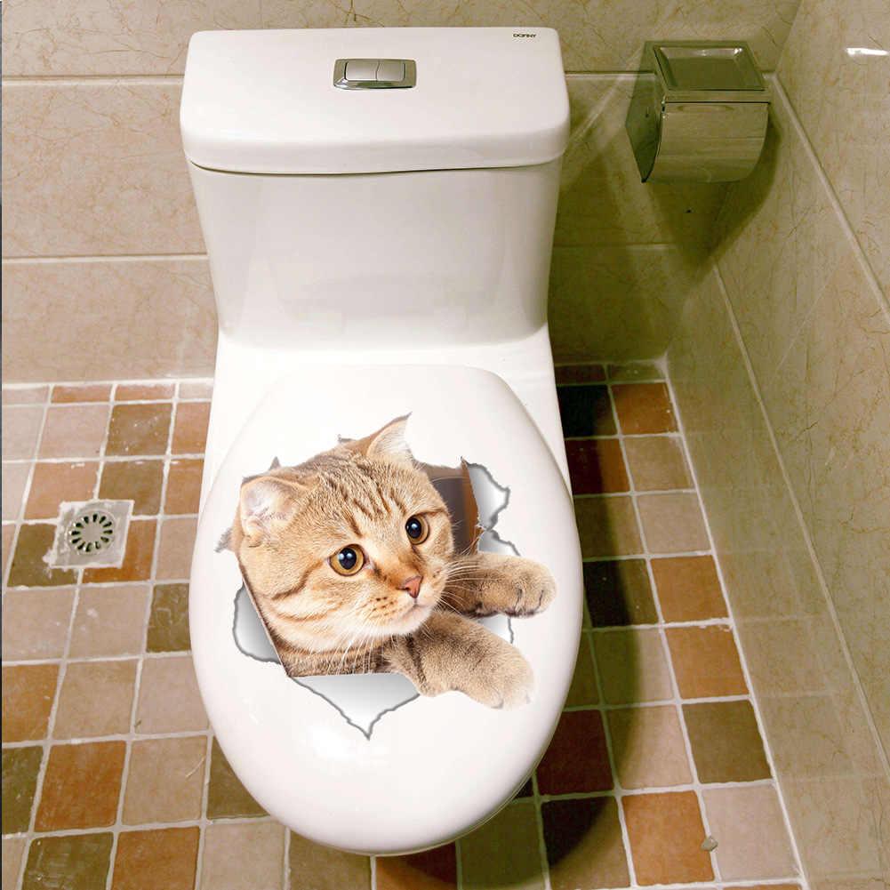 1 قطعة أزياء 3D BathroomToilet ملصقات جدار القط الكلب لطيف شكل نافذة الطابق المطبخ غرفة زينة DIY الرئيسية للإزالة ديكور