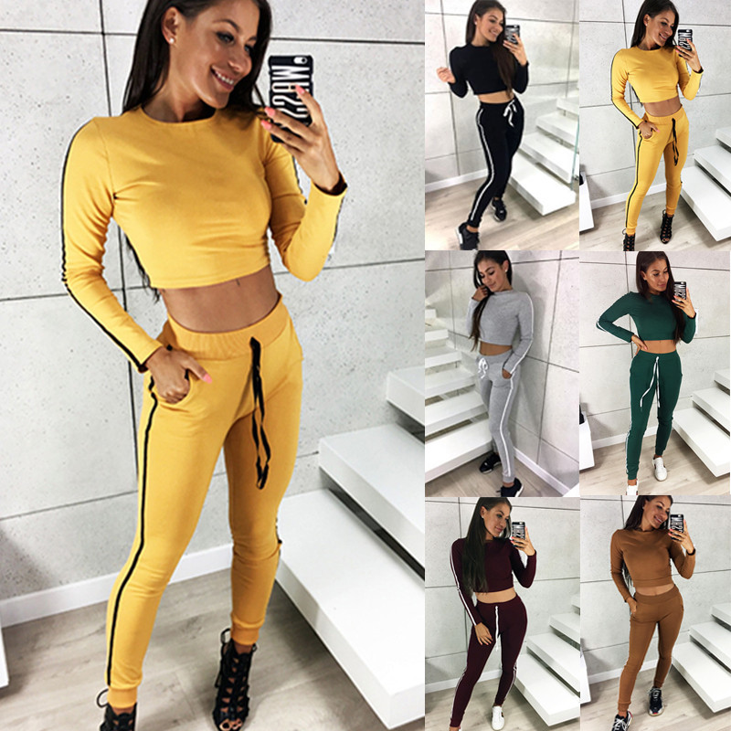 2020 two Piece Set Tracksuits Women  Plus Size 2 piece set women summer autumn T-Shirt Top And Pants Set Suits Casual Bodcon new