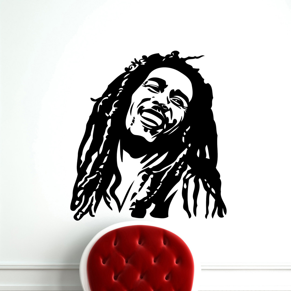 Decals dinding musik bob marley reggae rasta jamaica vinyl besar transfer stencil decal sticker wall art anak laki laki dekorasi rumah mural a324 di wall
