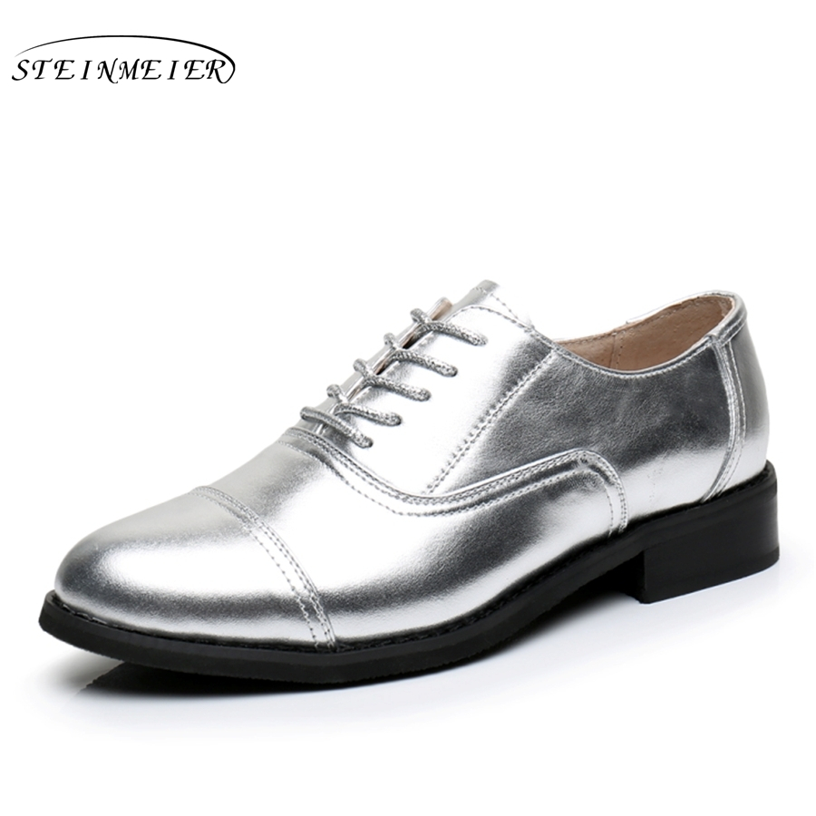 Cow leather big woman size 11 designer vintage shoes round toe handmade golden silver oxford shoes for women with fur