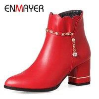 Enmayer عالية الكعب أحذية امرأة أشار تو أسود أحمر أبيض أحذية الكاحل للمرأة الغربية زائد الحجم 34-43 الشتاء الأحذية
