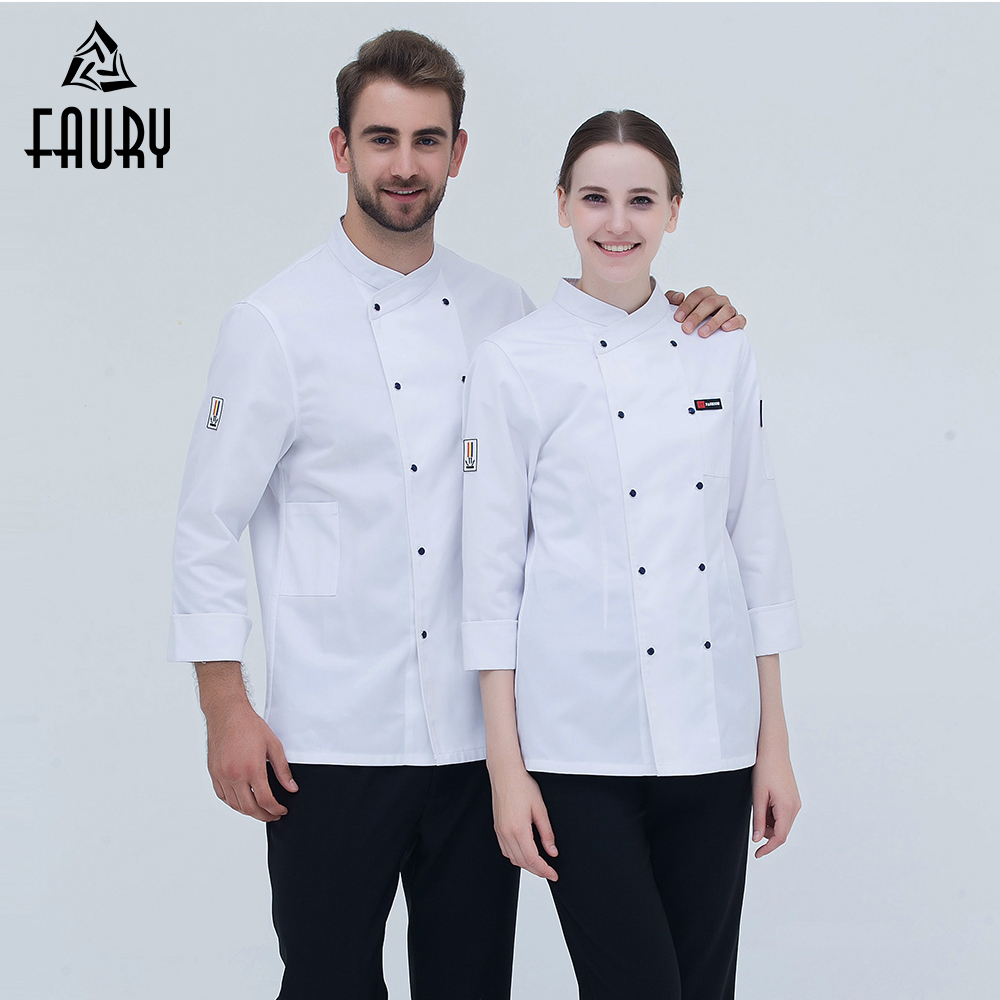 New Chef Uniform Long-sleeved Double Breasted Chef Jacket Restaurant Kitchen Bakery Sushi Workwear Cooking Clothes High Quality