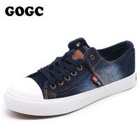 GOGC Designer Denim Shoes With Rhinestone Crystal Comfortable Thick Soles Canvas Shoes Women Casual Shoes Slipony