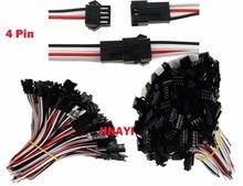 100 Çift 2 pin 3 Pin 4 Pin SM JST LED Bağlantı Kablosu Erkek Dişi fiş konnektörü Terminalleri Kablo SMP 24AWG 10 cm