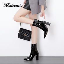 MAIERNISI Women Boots Wedge Mid Calf Shoes Black silver Fashion Mother Round Toe Ladies brand