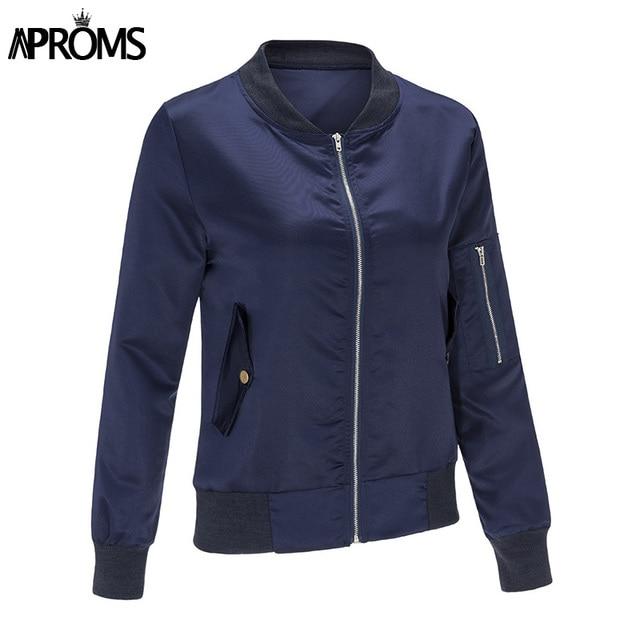 Autumn Winter Ladies Zipper Basic Coats 2017 Fashion Women Black Blue bomber jacket Long Sleeve Casual Slim Coat chaquetas mujer